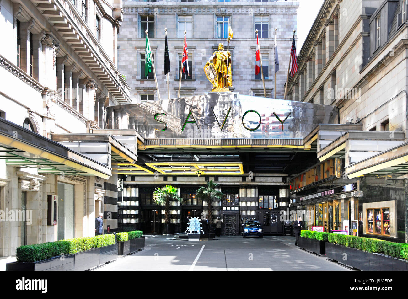 Savoy Hotel London England UK managed by Fairmont Hotels and Resorts entrance unusually free of taxis because of - Stock Image