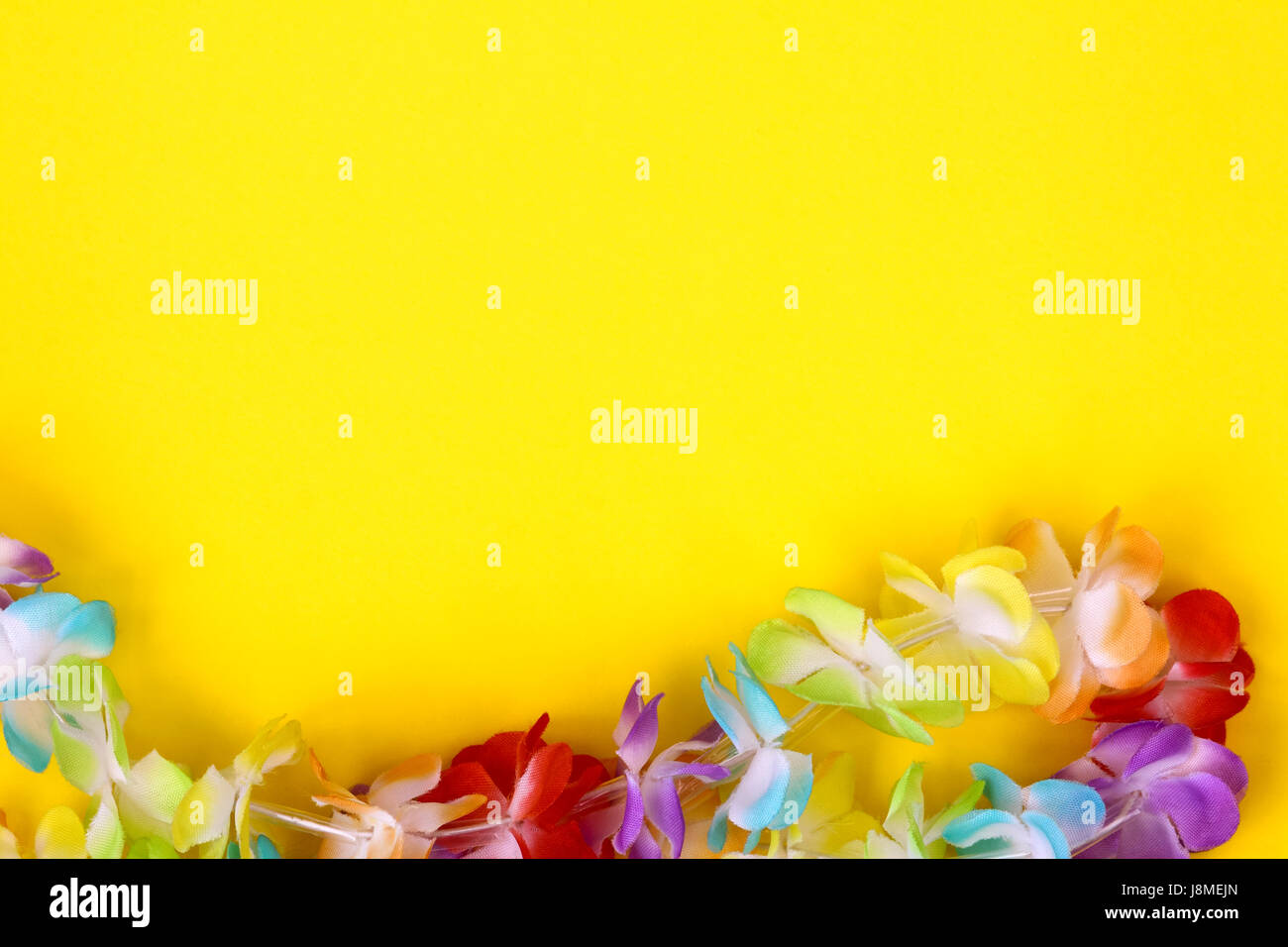 Rainbow coloured fake flowers on a necklace around a plain coloured background with room for copy space - Stock Image