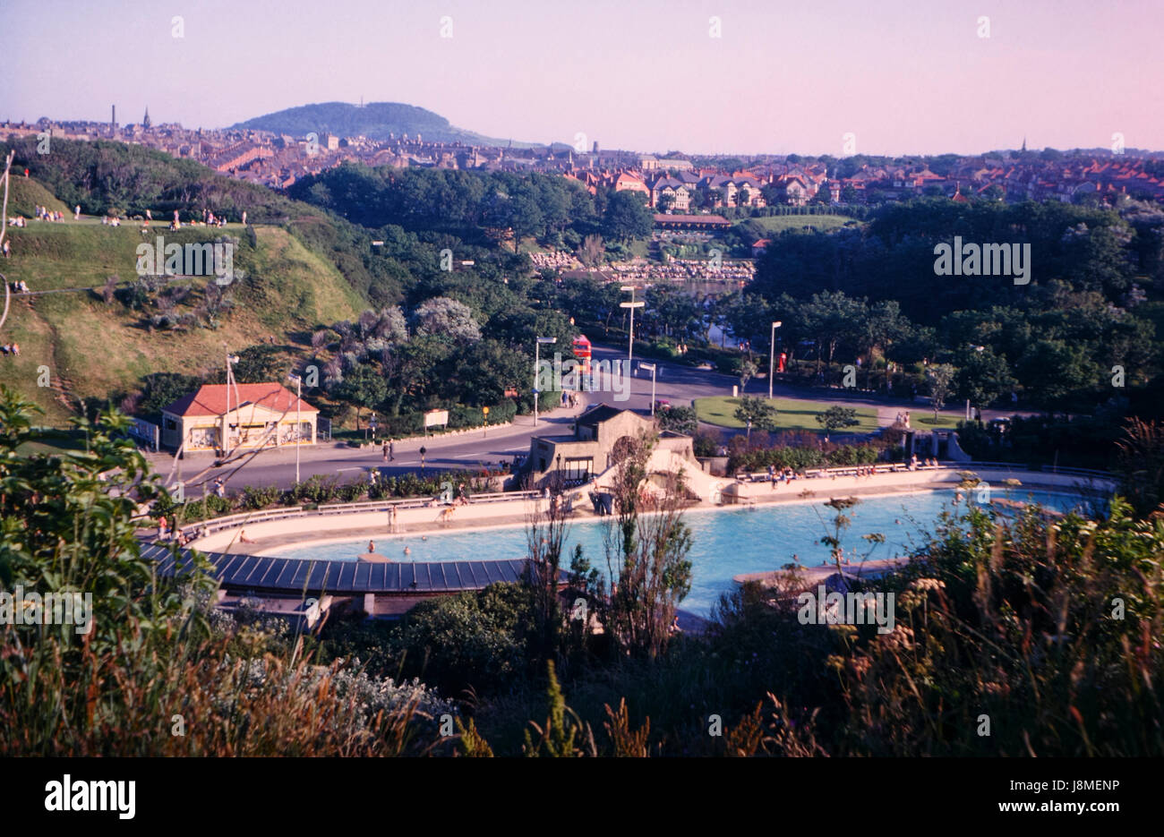 Vintage image of North Bay bathing pool in Scarborough taken in July 1963 - the bathing pool has since been replace - Stock Image