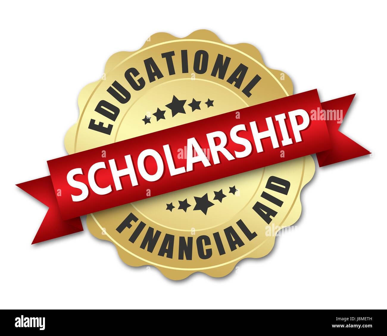 Scholarship golden badge - Stock Image