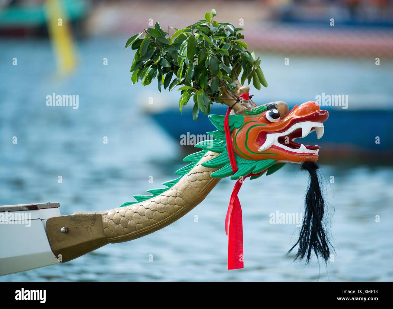 Dragon boat head.Annual International Dragon Boat races at Stanley Beach, Hong Kong Island, Hong Kong. - Stock Image