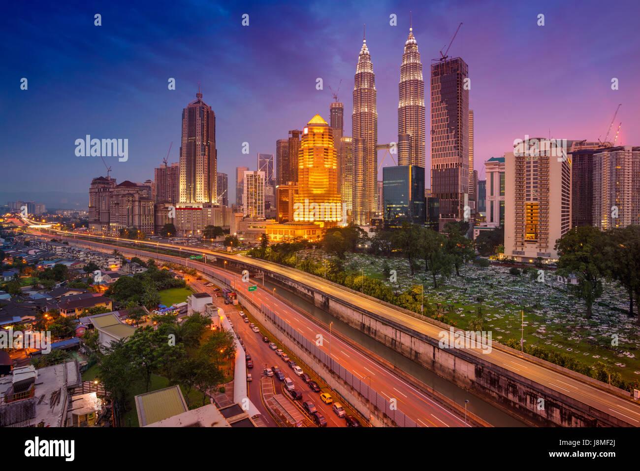 Kuala Lumpur. Cityscape image of Kuala Lumpur, Malaysia during twilight blue hour. Stock Photo