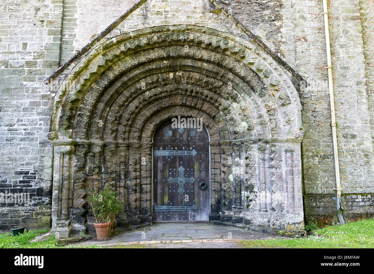 the west doorway, norman architecture, at st.germans priory in cornwall, england, britain, uk, - Stock Image