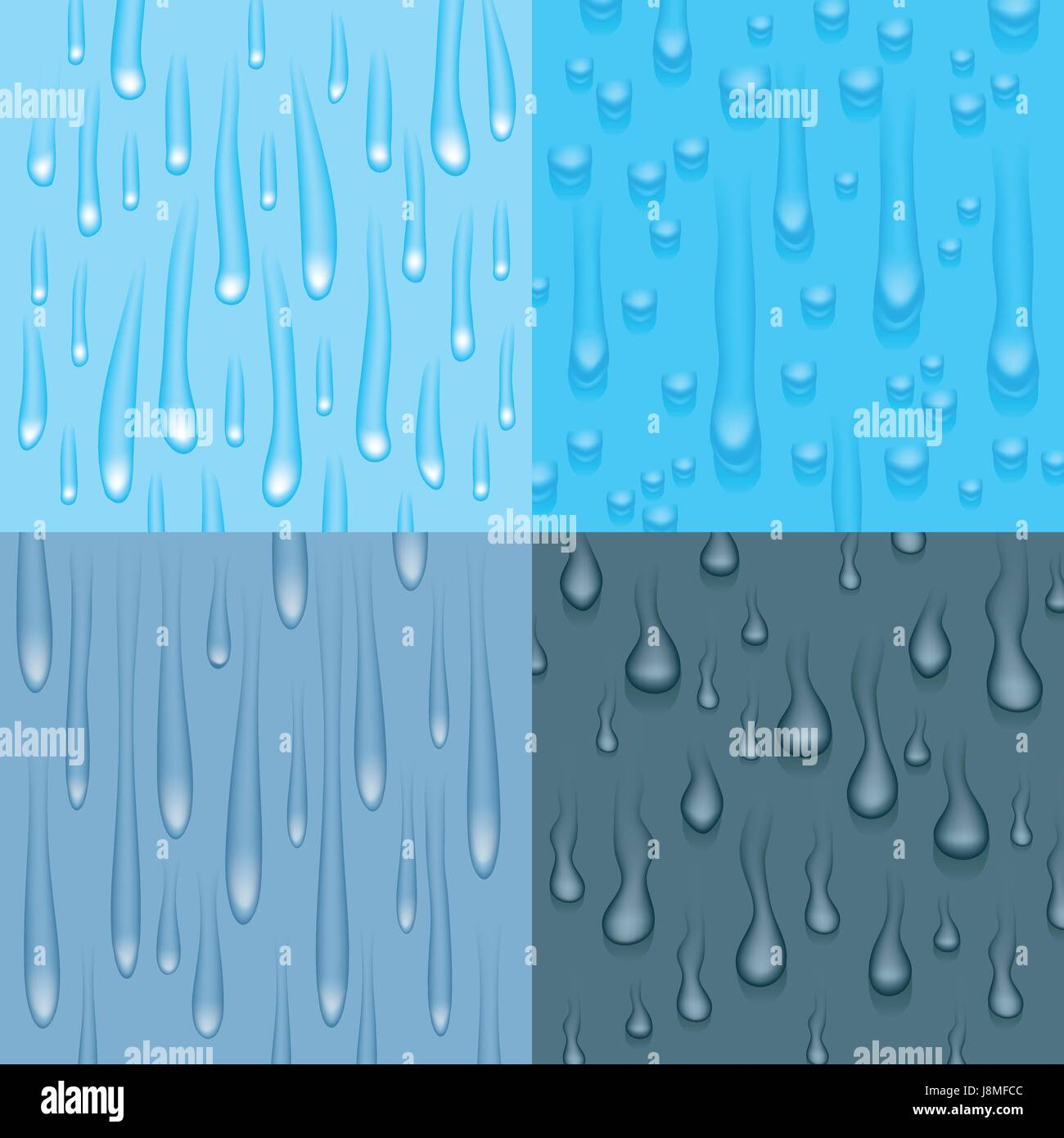 Set of four different drip and drop design elements. - Stock Vector