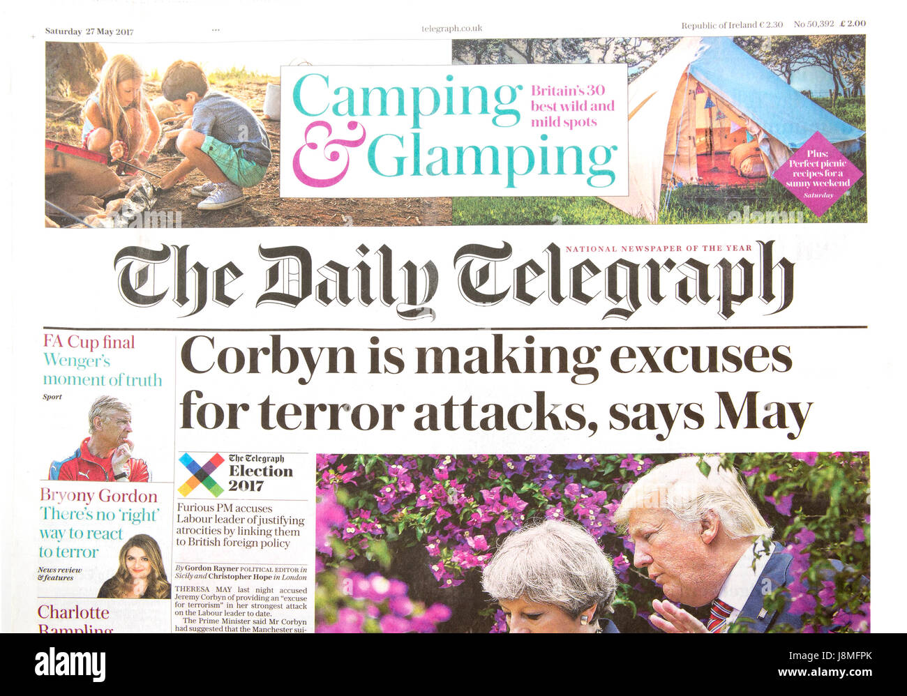 SWINDON, UK - MAY 27, 2017: The Daily Telegraph newspaper Corbyn is making excuses for Terror Attacks, Says May - Stock Image