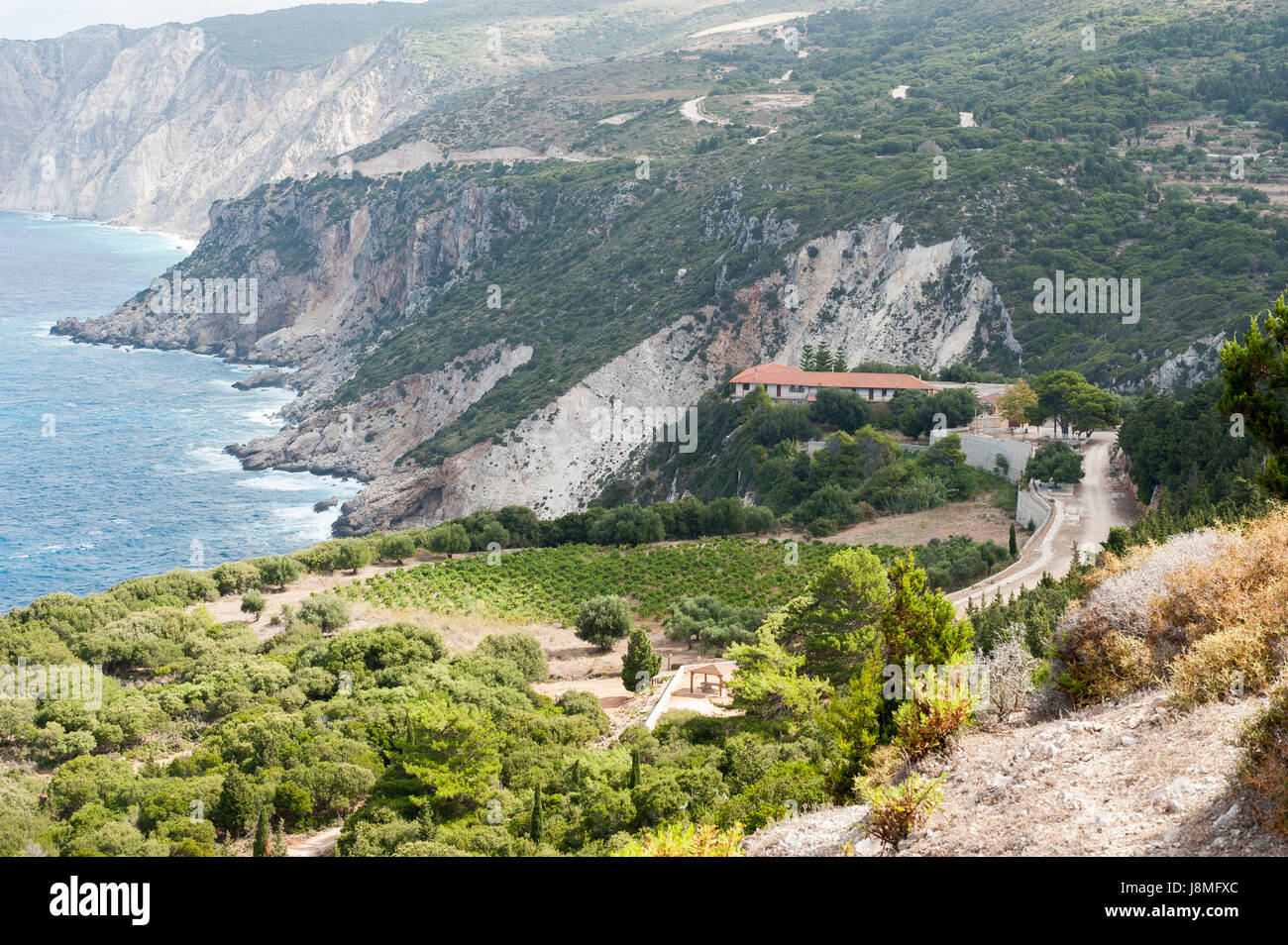 Moni Iperagias Theotokou Kipourion, Kefalonia, Ionian Islands, Greece, Europe - Stock Image