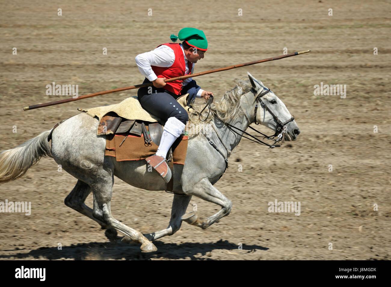 Wild bull herdsman (campino). Samora Correia. Ribatejo, Portugal Stock Photo