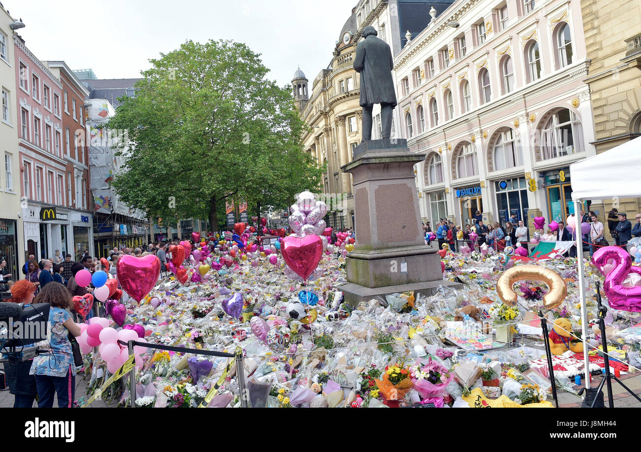 tributes left in Manchester's St Ann's Square for the victims of the terrorist bombing. Stock Photo