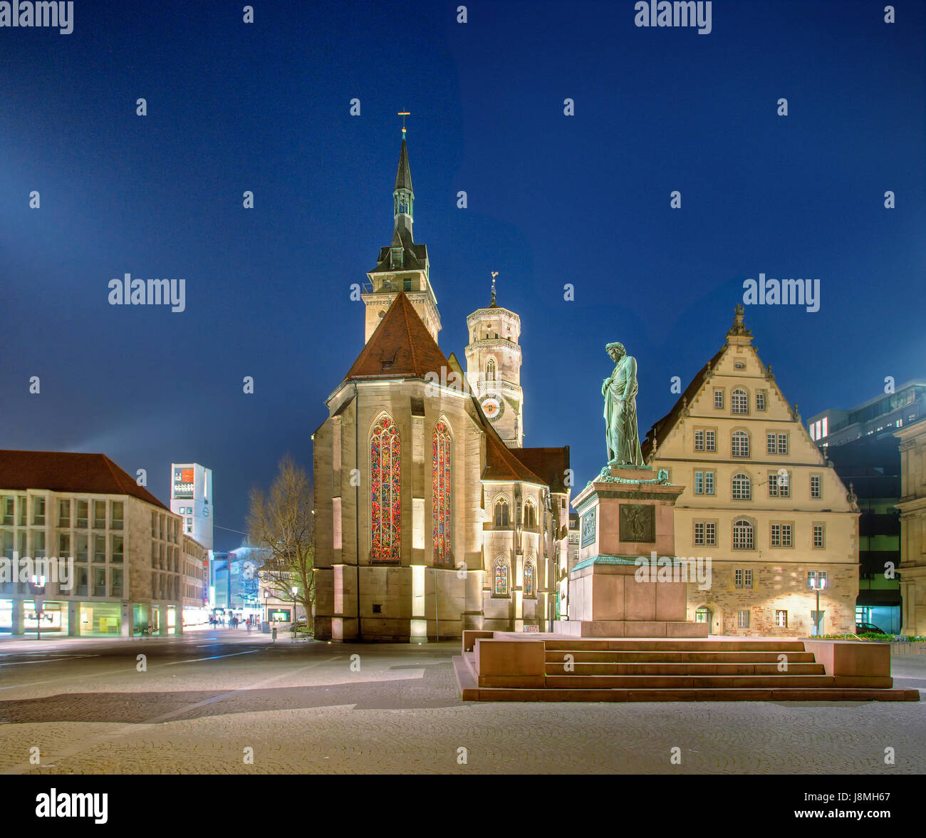Schillerplatz Stuttgart, Panorama Photo. Old Castle, Town Hall Tower, Stiftskirche, Schillerdenkmal. - Stock Image