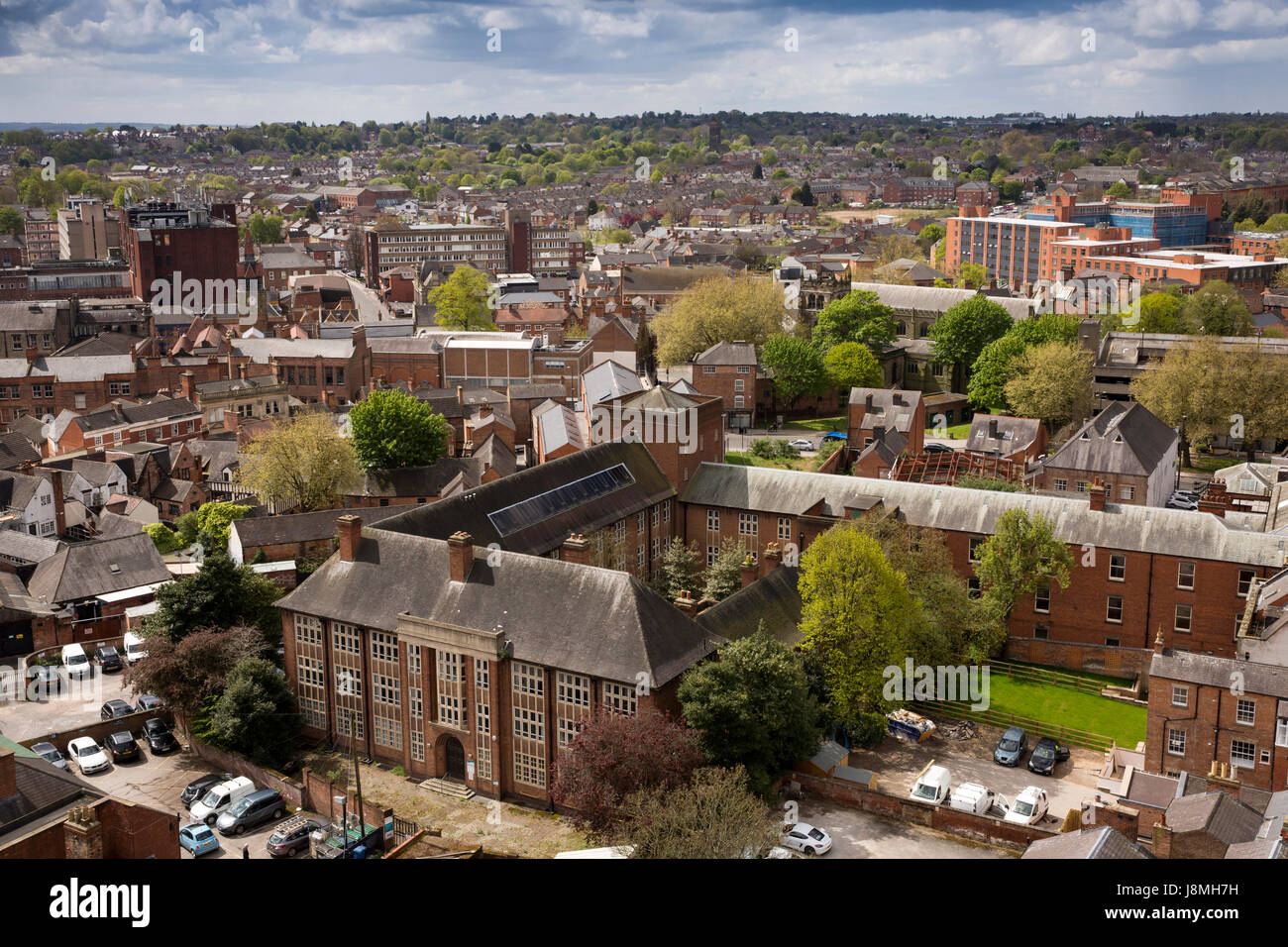 UK, England, Derbyshire, Derby, George Lane, Council Offices, elevated view from Cathedral Tower - Stock Image