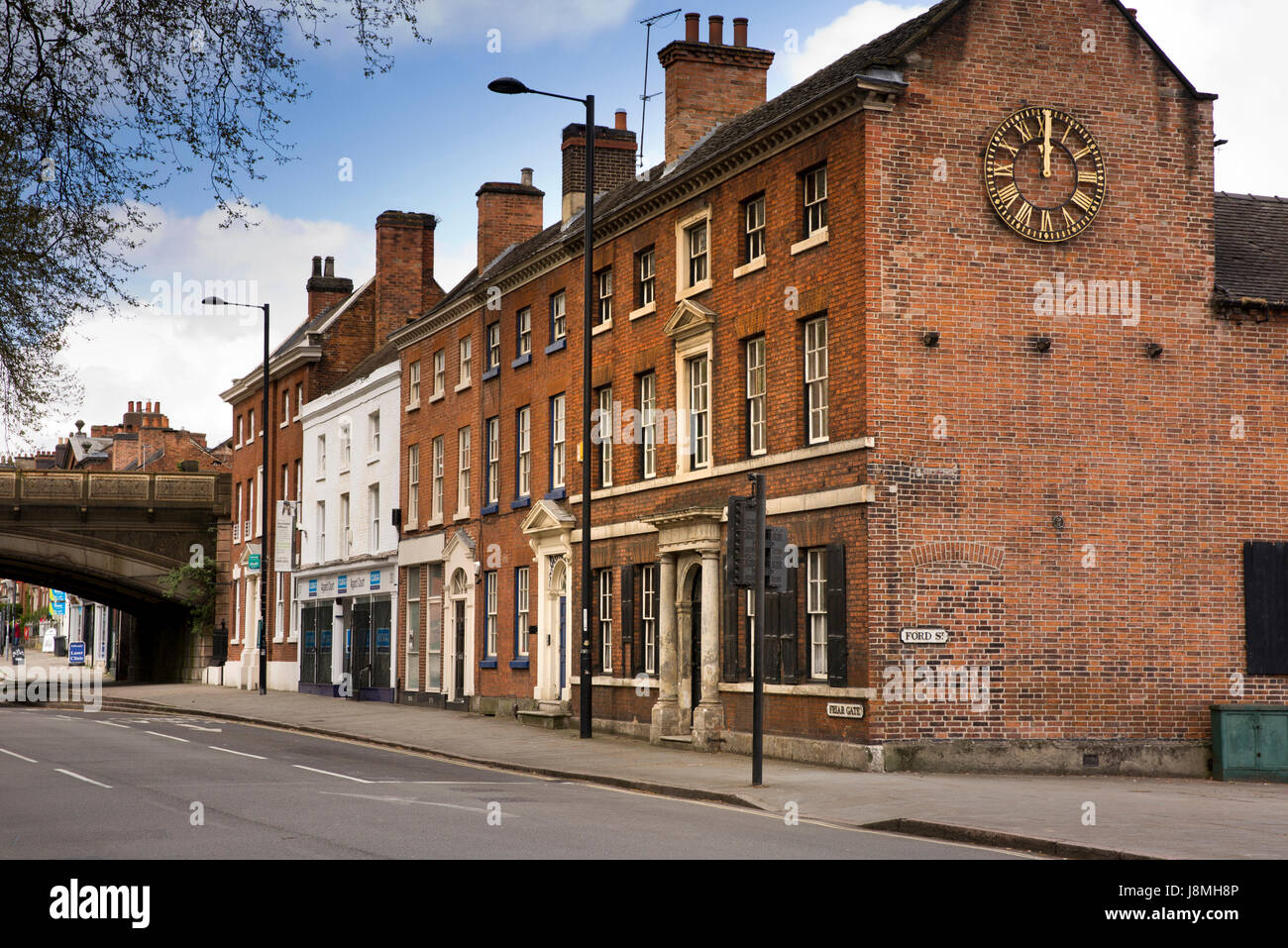 UK, England, Derbyshire, Derby, Friargate, former Diocesan School circa 1840  with clock on gable wall - Stock Image