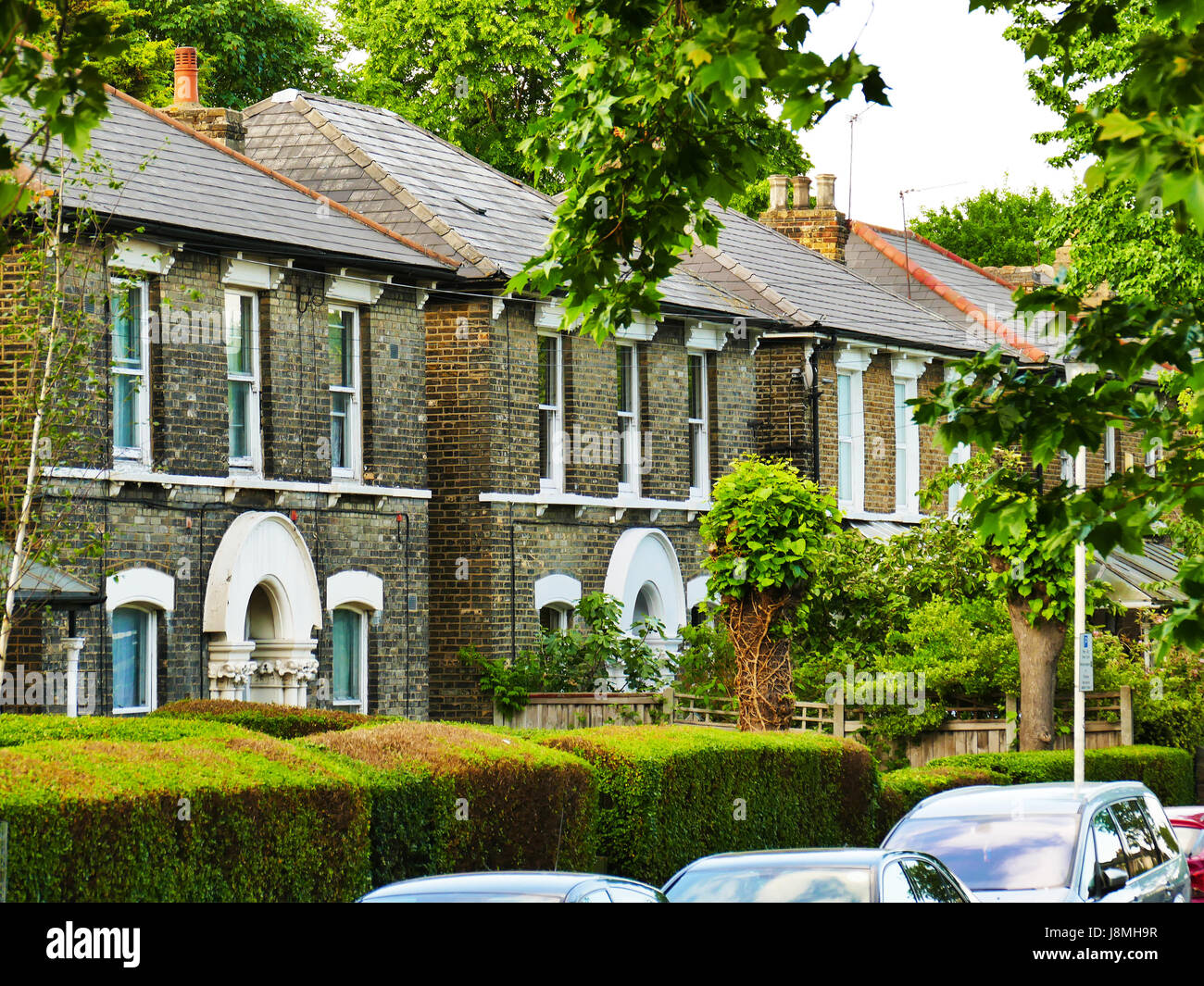 Double fronted Victorian houses in Hampton Rd, Forest Gate London E7 Stock Photo
