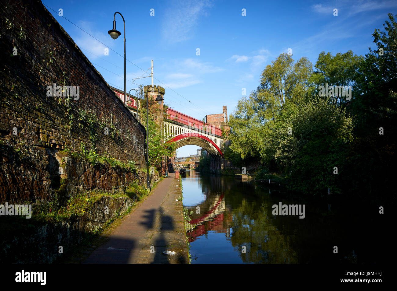 Sunny day, victorian cast iron railway bridges  Castlefield on the Rochdale Canal, Gtr Manchester, UK. Stock Photo