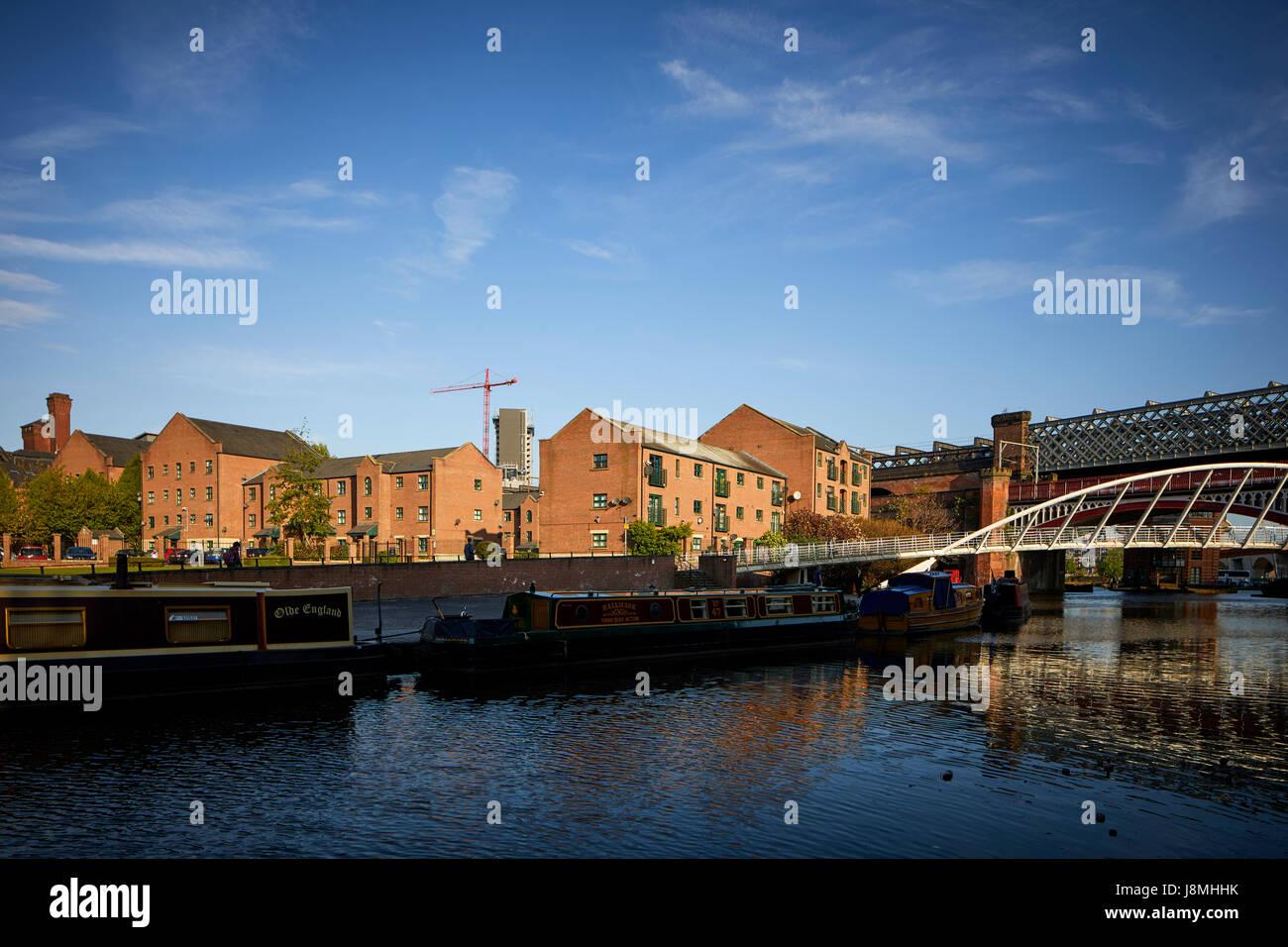 Manchester castlefield basin, and modern urban housing development, - Stock Image