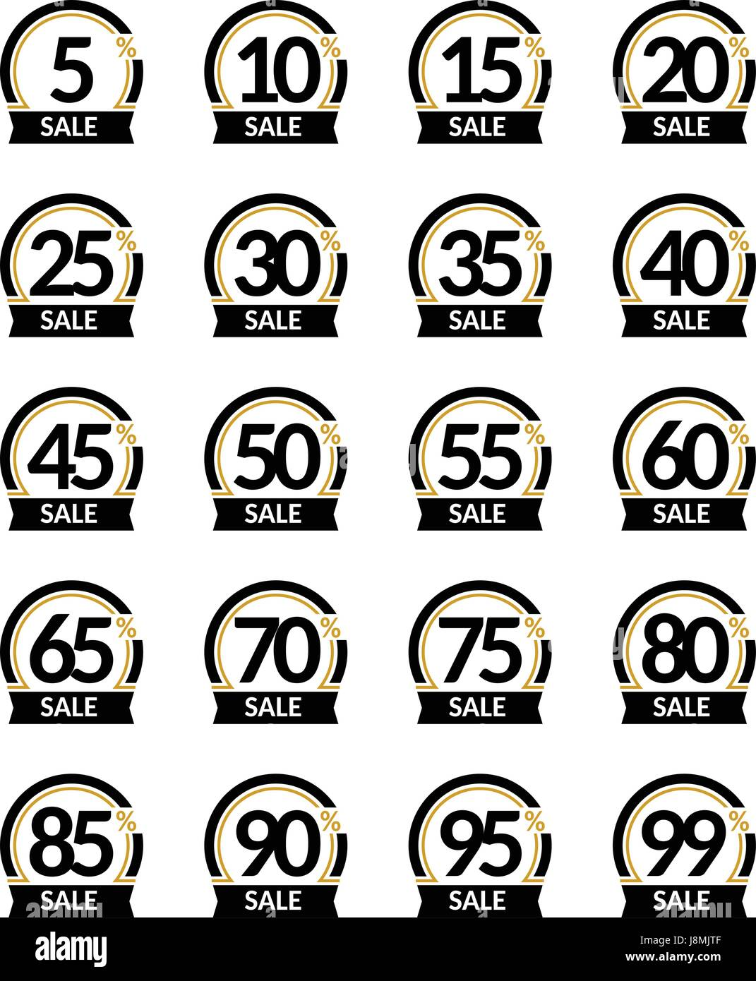 Advertising Sale and discount in percent vector sign set. Promotion Stylish logo design under the black and gold - Stock Vector