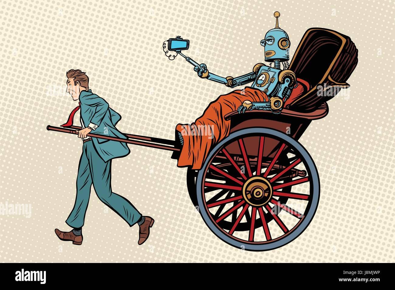 People rickshaw ride robot Stock Vector