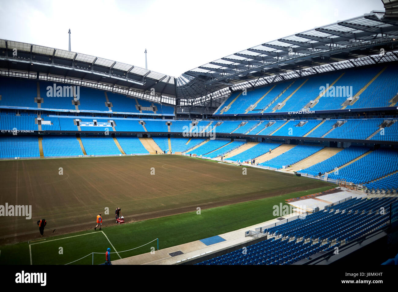 Manchester City Etihad Stadium  pitch repair, - Stock Image