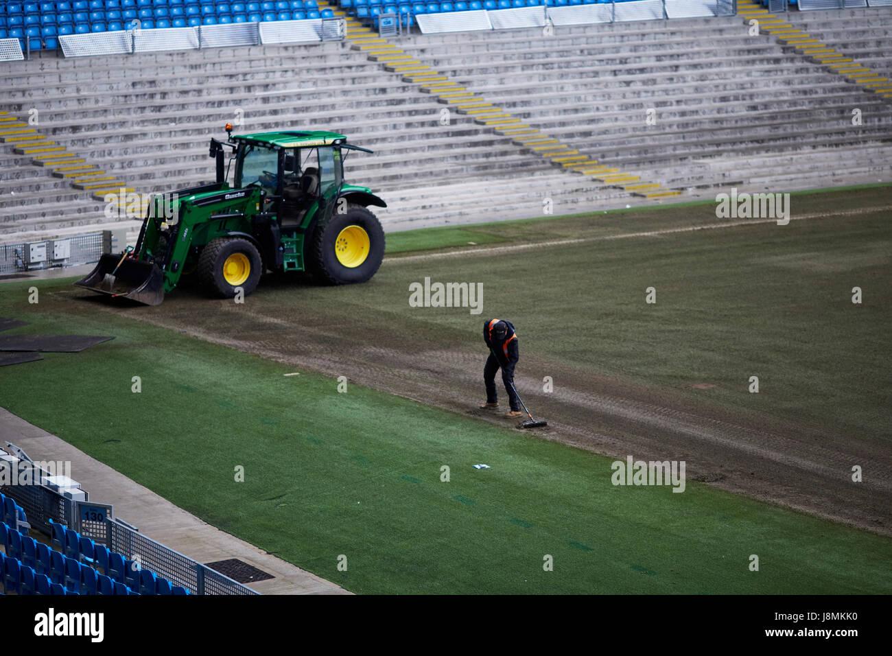 Manchester City Etihad Stadium  pitch repair, - Stock Image