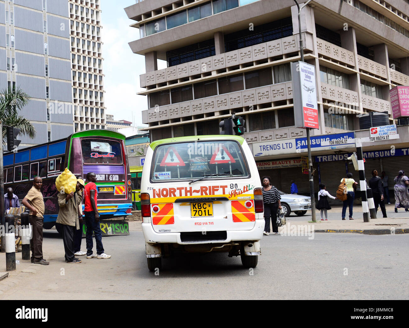 Public transport in downtown  Nairobi, Kenya. - Stock Image
