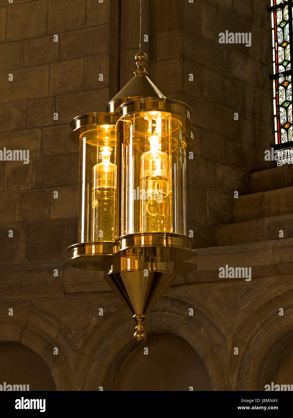 Chrismatory Lantern, designed and made by Henry Freeland and Rupert Harris, hanging in St. Lukes chapel, Norwich - Stock Image