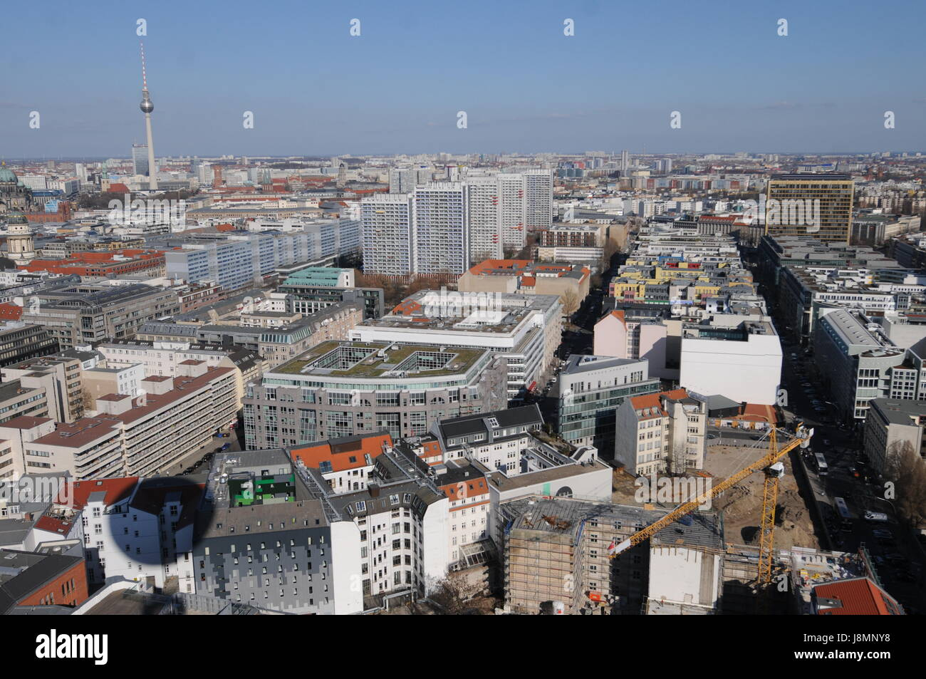 Die Welt observation balloon offers aerial view over Berlin (Germany) Stock Photo