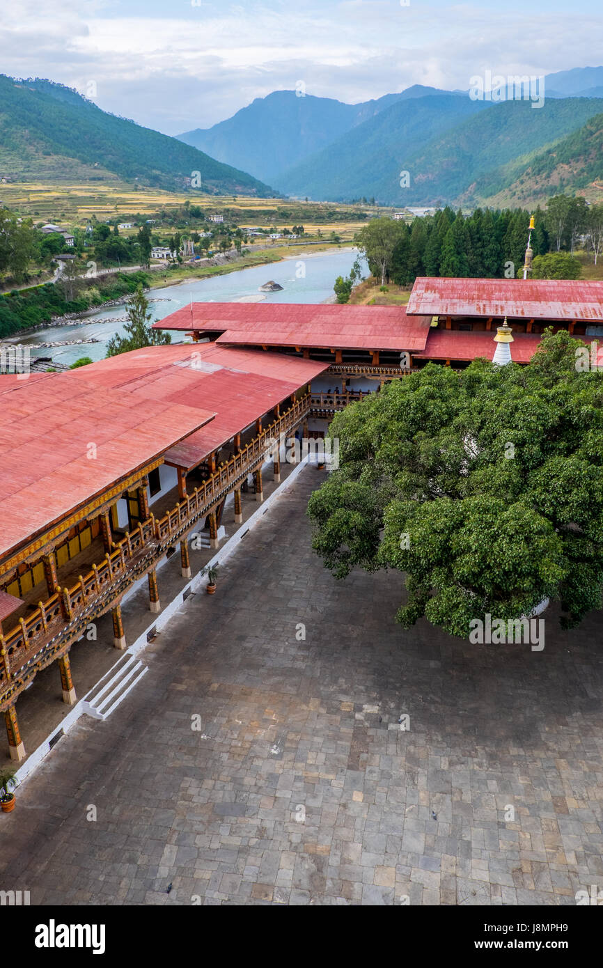 One of the courtyard within Punakha Dzong. The fortress is located along the Mo Chhu, one of Bhutan's major - Stock Image