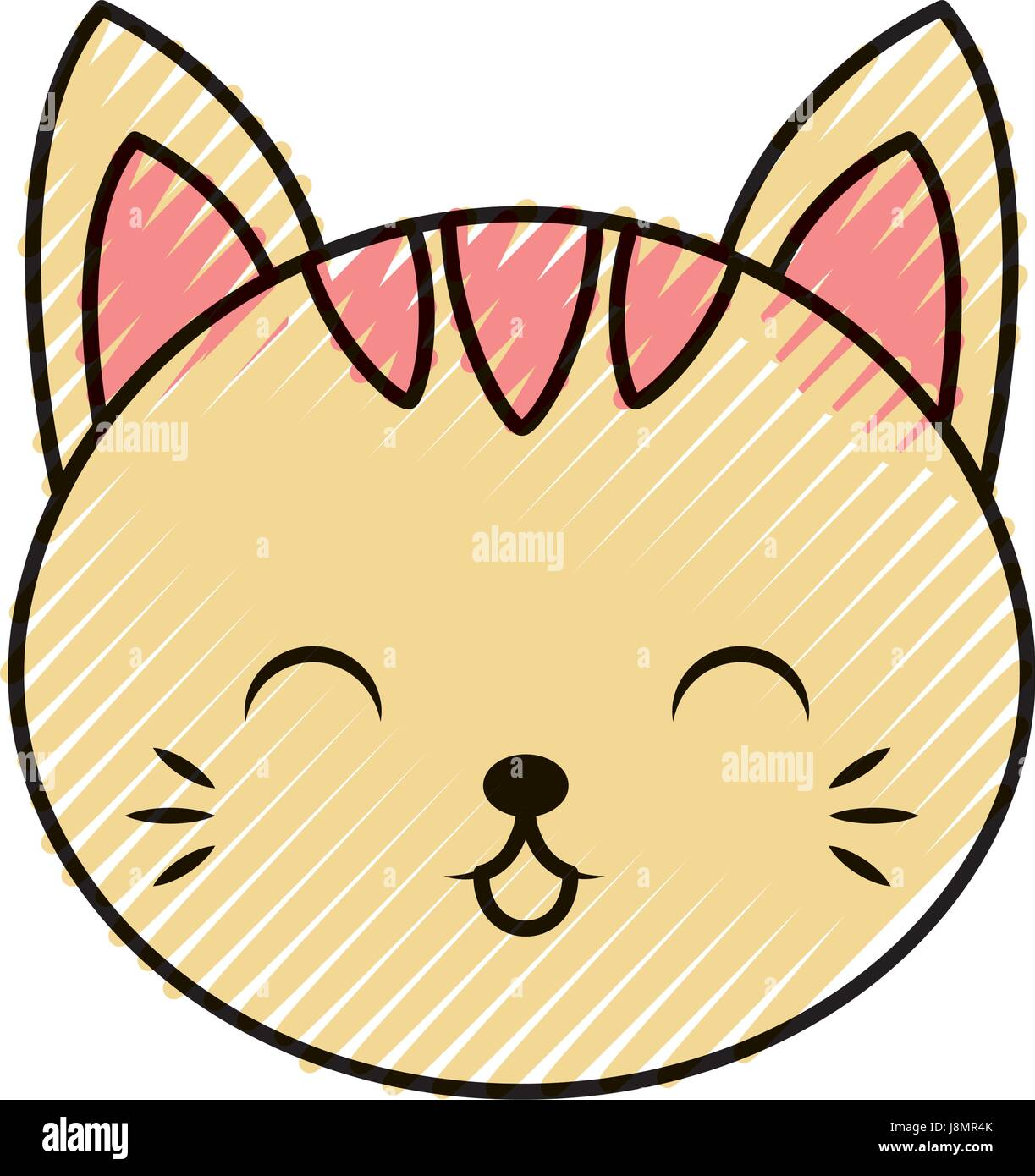 Cute Scribble Cat Face Cartoon Stock Vector Image Art Alamy