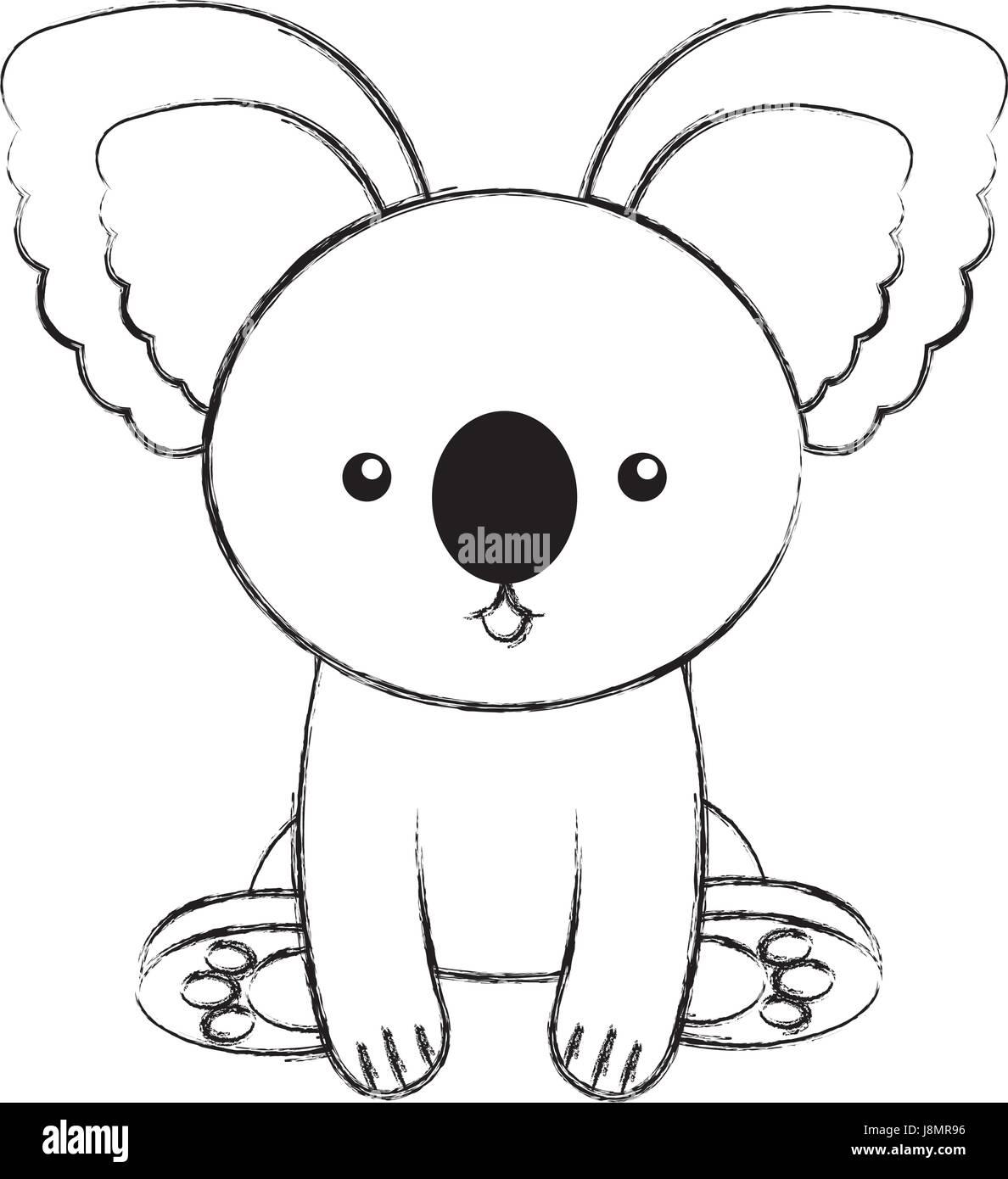 Cute Sketch Draw Koala Cartoon Stock Vector Art Illustration
