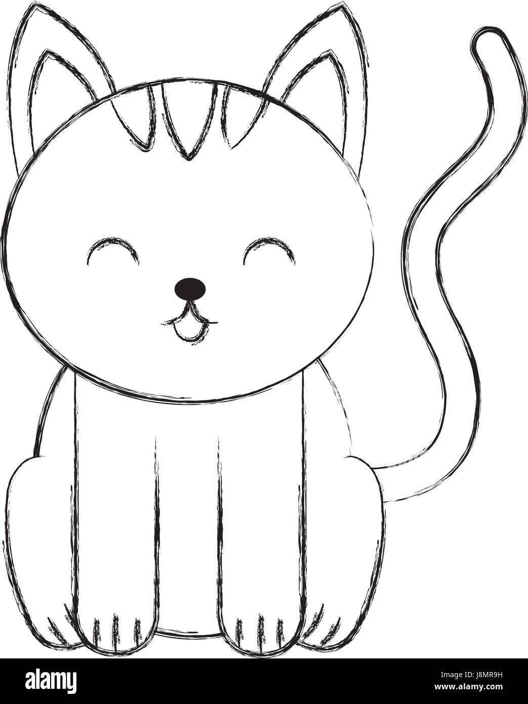 Cute Sketch Draw Cat Cartoon Stock Vector Art Illustration Vector