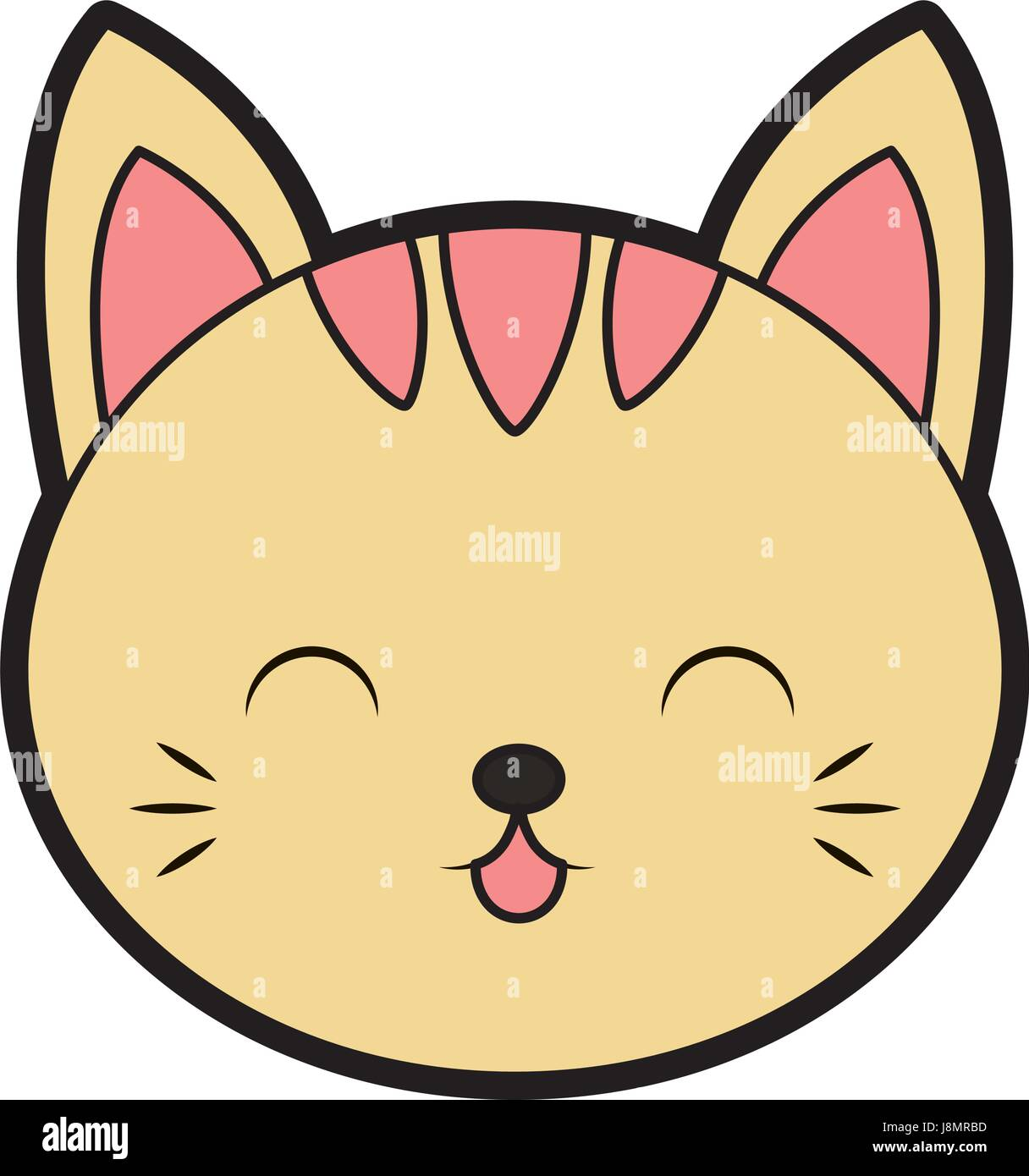Cute Cat Face Cartoon Stock Vector Image Art Alamy