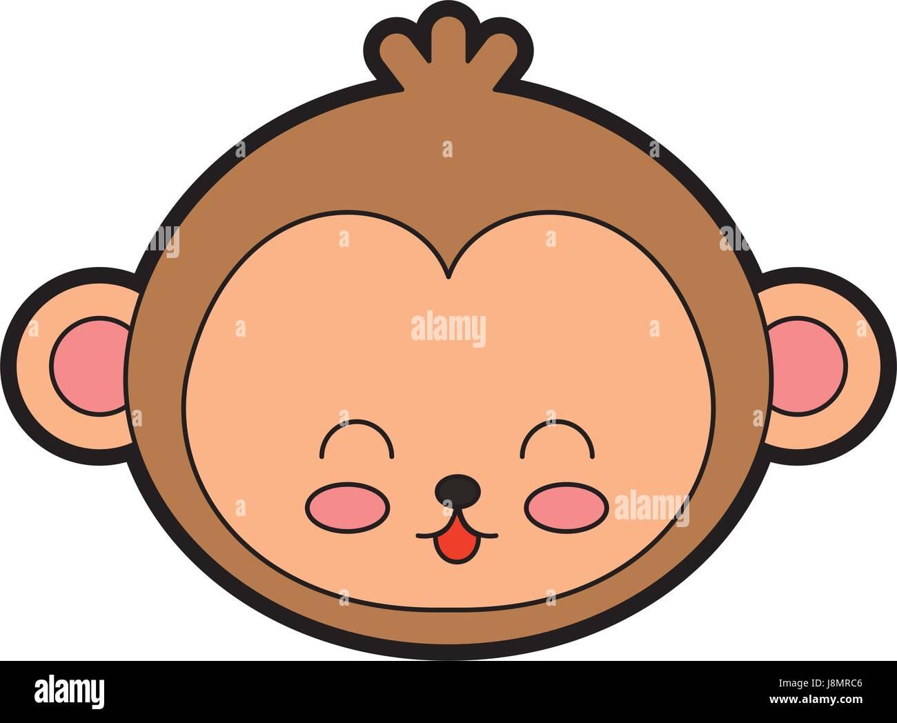 Cute Monkey Face Cartoon Stock Vector Image Art Alamy