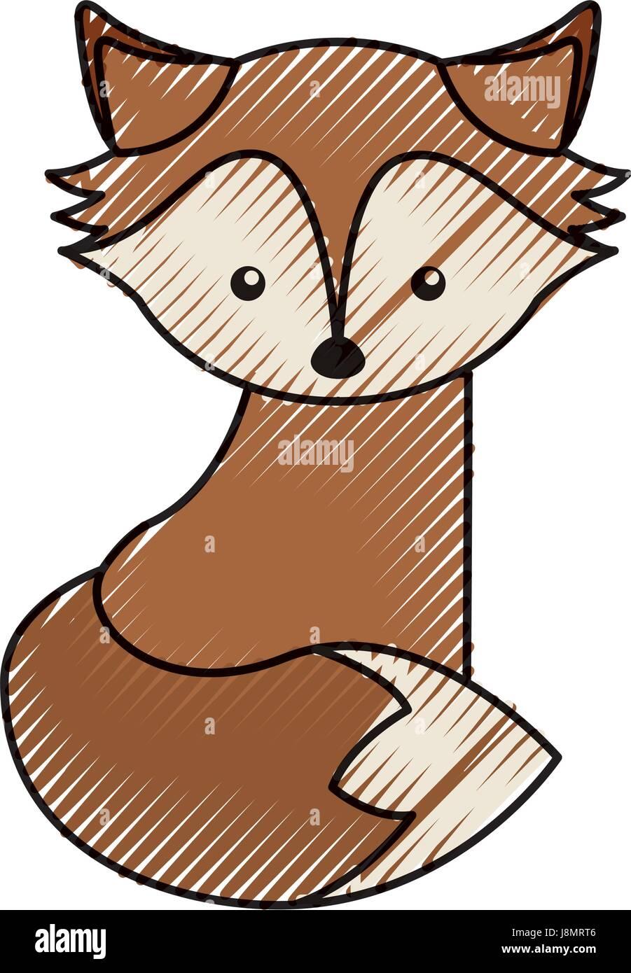 cute scribble fox cartoon - Stock Image