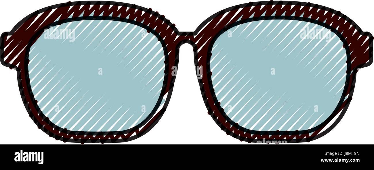 cute scribble glasses cartoon - Stock Image