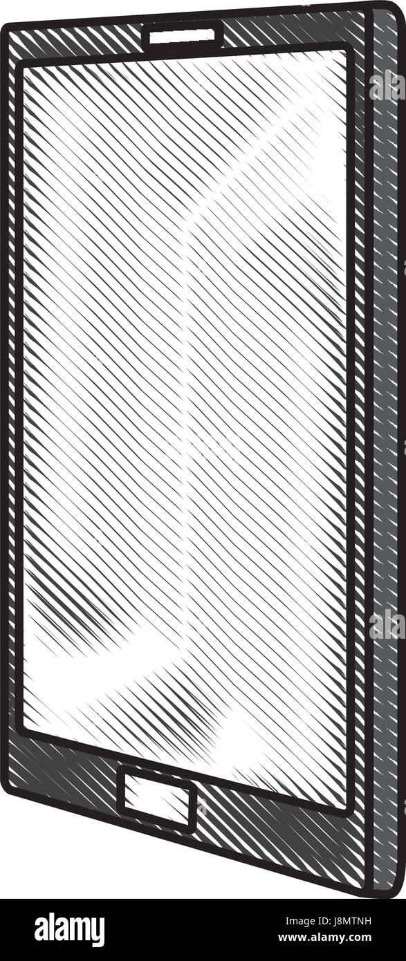 scribble cellphone cartoon - Stock Image