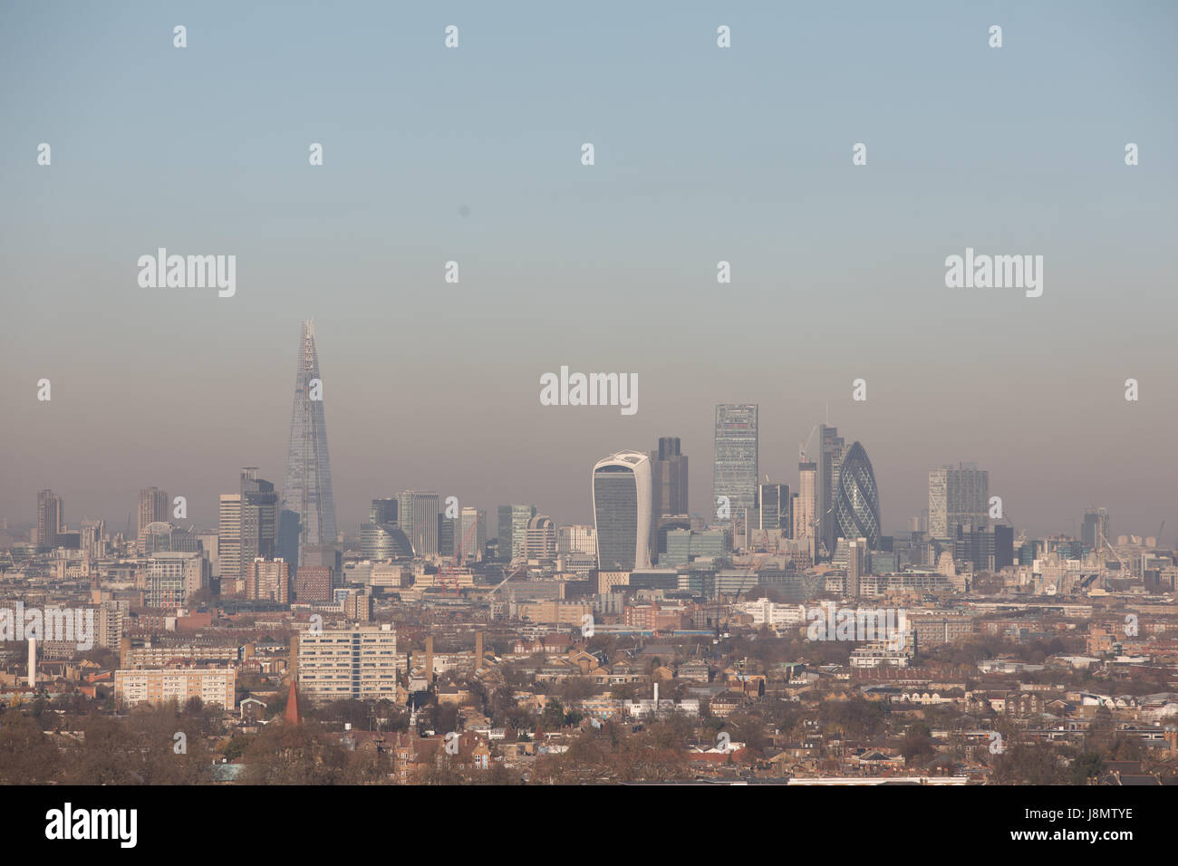 General view of London from south looking north, panoramic, showing housing in foreground and City of London in - Stock Image