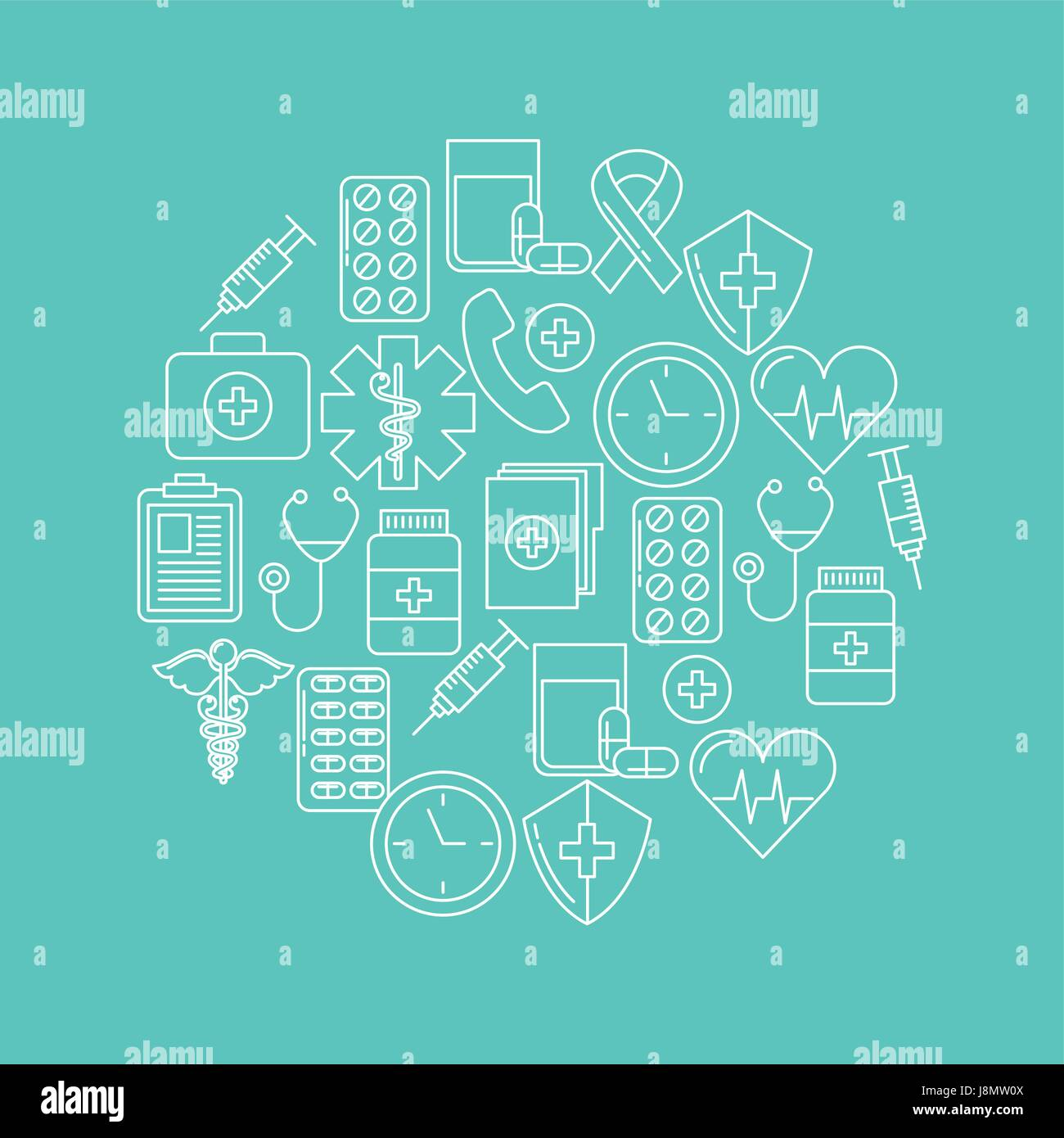 round icon health mind - Stock Image