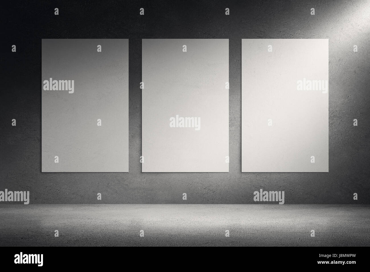 Art gallery room. Blank picture canvas frames on grunge wall Stock ...