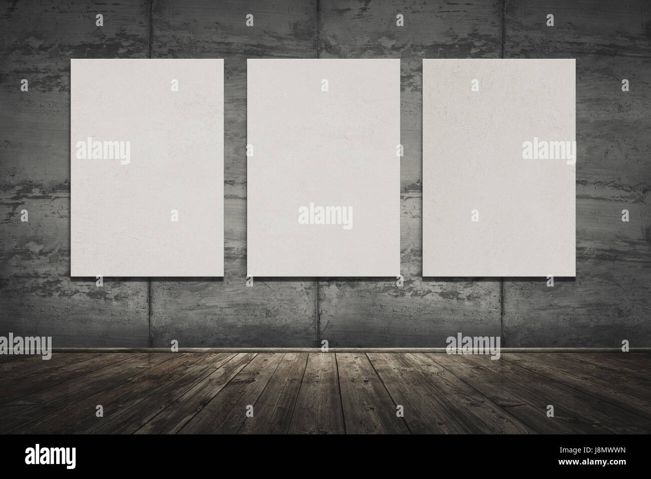 3d illustration of big interior with old wooden floor, concrete wall with seams and three empty frames on the wall. Stock Photo