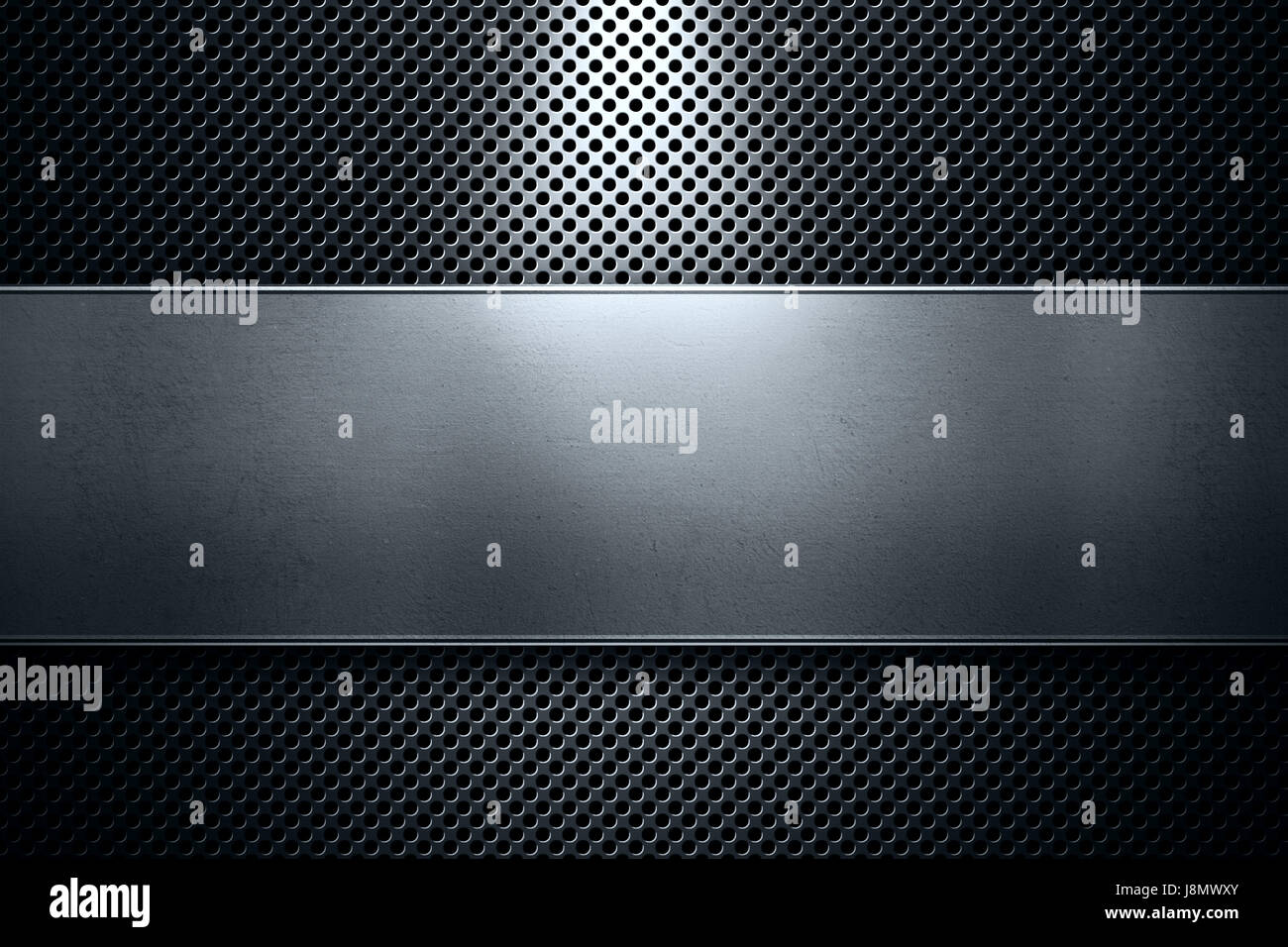Abstract modern colored perforated metal plate with polished metal plate banner and blue light, place for text in - Stock Image
