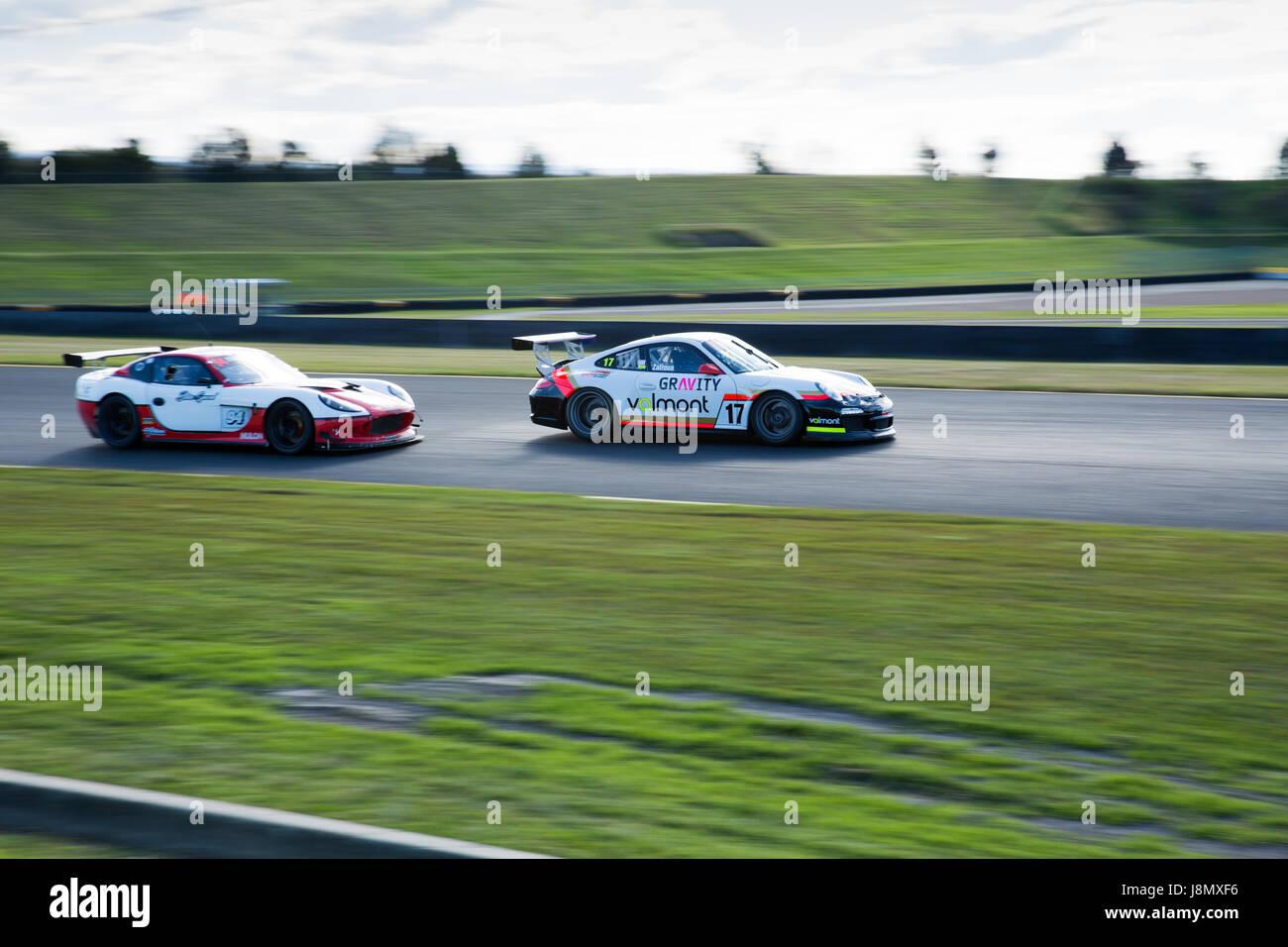 Sydney Motorsport Park, Australia. 28th May 2017.  BPG Motorsport edging on 360 Motorsports. Anthony Bolack/Alamy - Stock Image