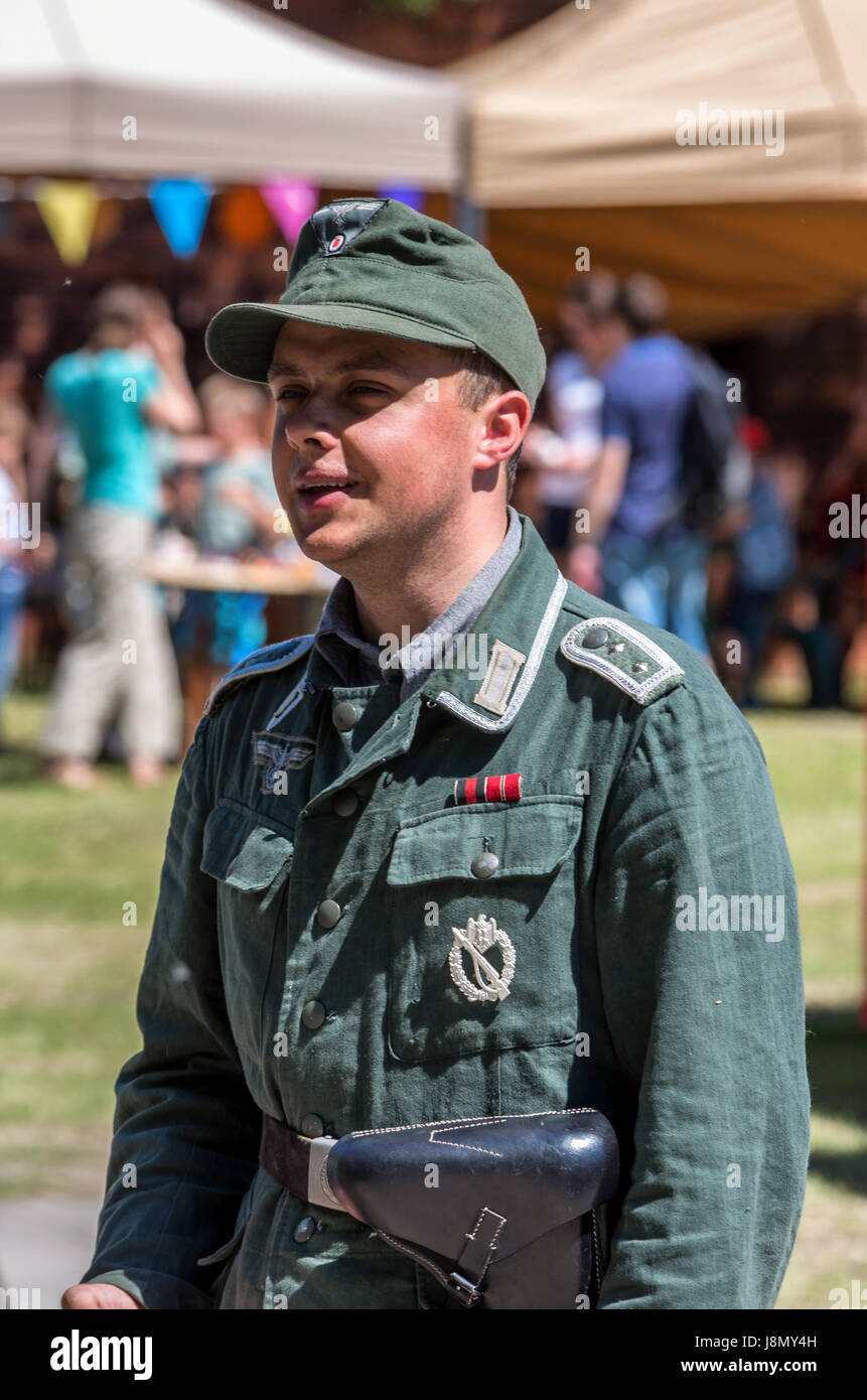 Warsaw, Poland. 28th May, 2017. Military re-enactor in a German uniform participates in an annual historical re - Stock Image