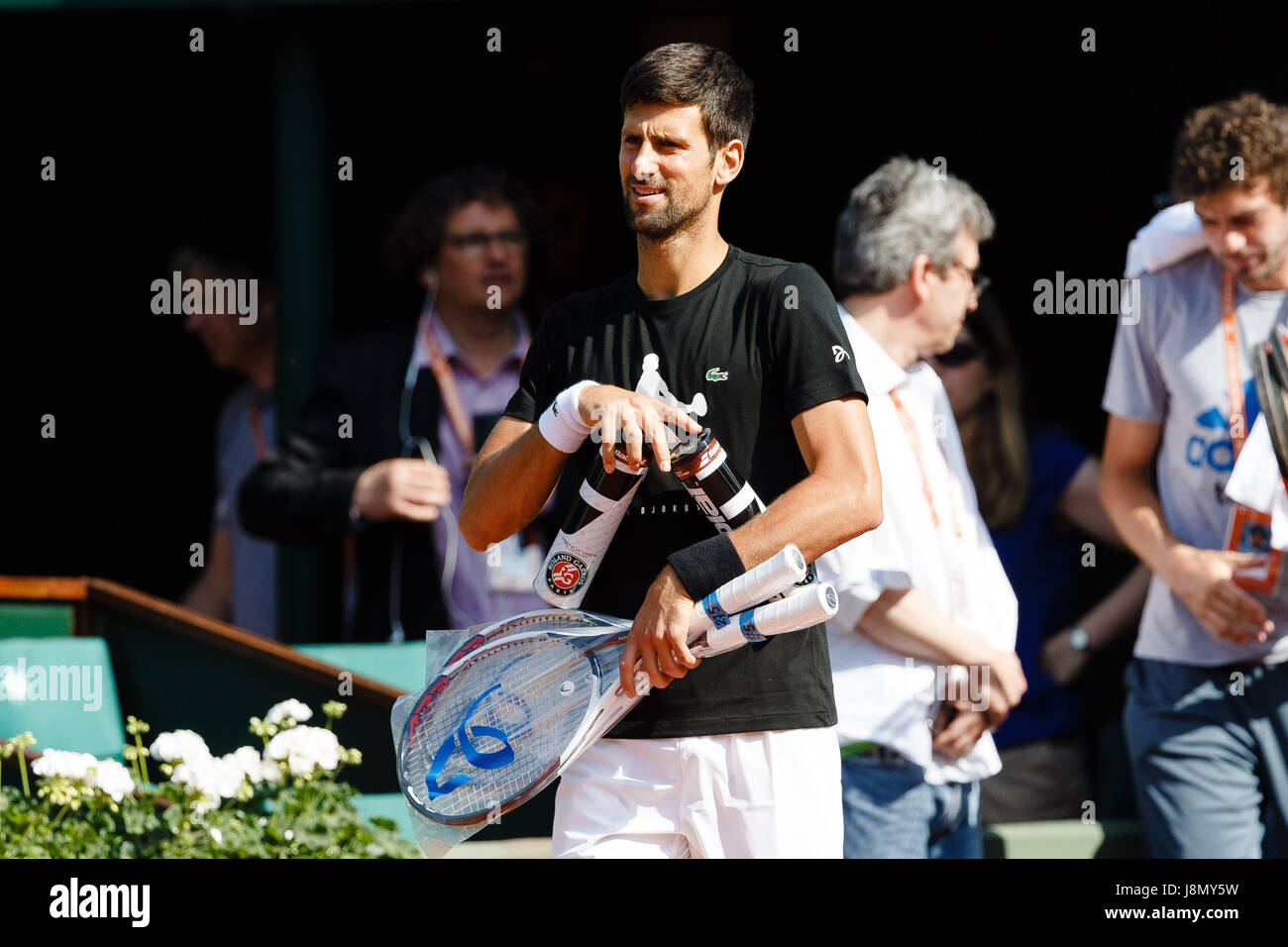 Paris, France, 29th May 2017, Tennis French Open: Novak Djokovic during a practice session at day 2 at the 2017 - Stock Image