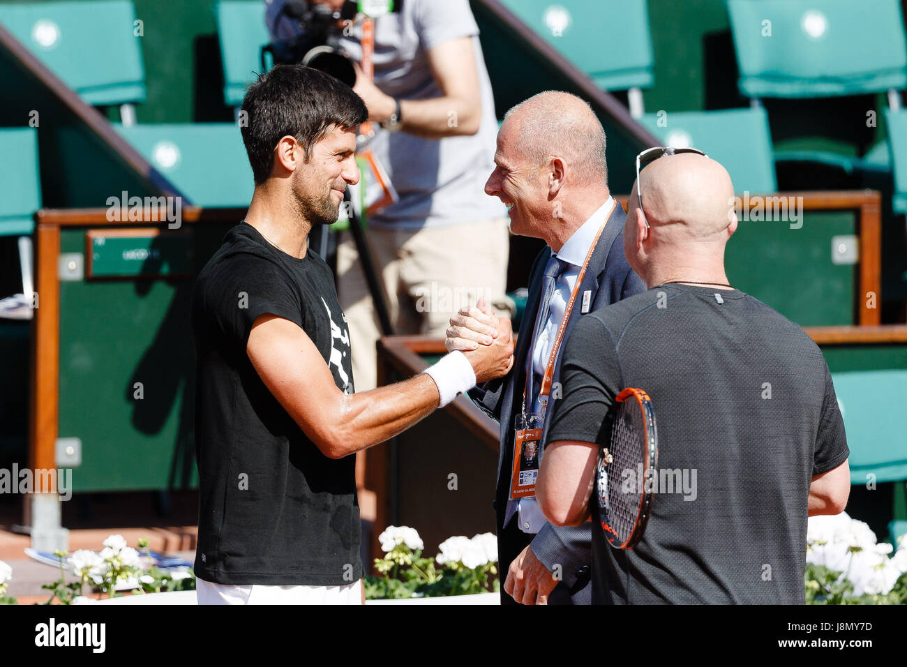 Paris, France, 29th May 2017, Tennis French Open: Novak Djokovic Andre Agassi and tournament director Guy Forget - Stock Image