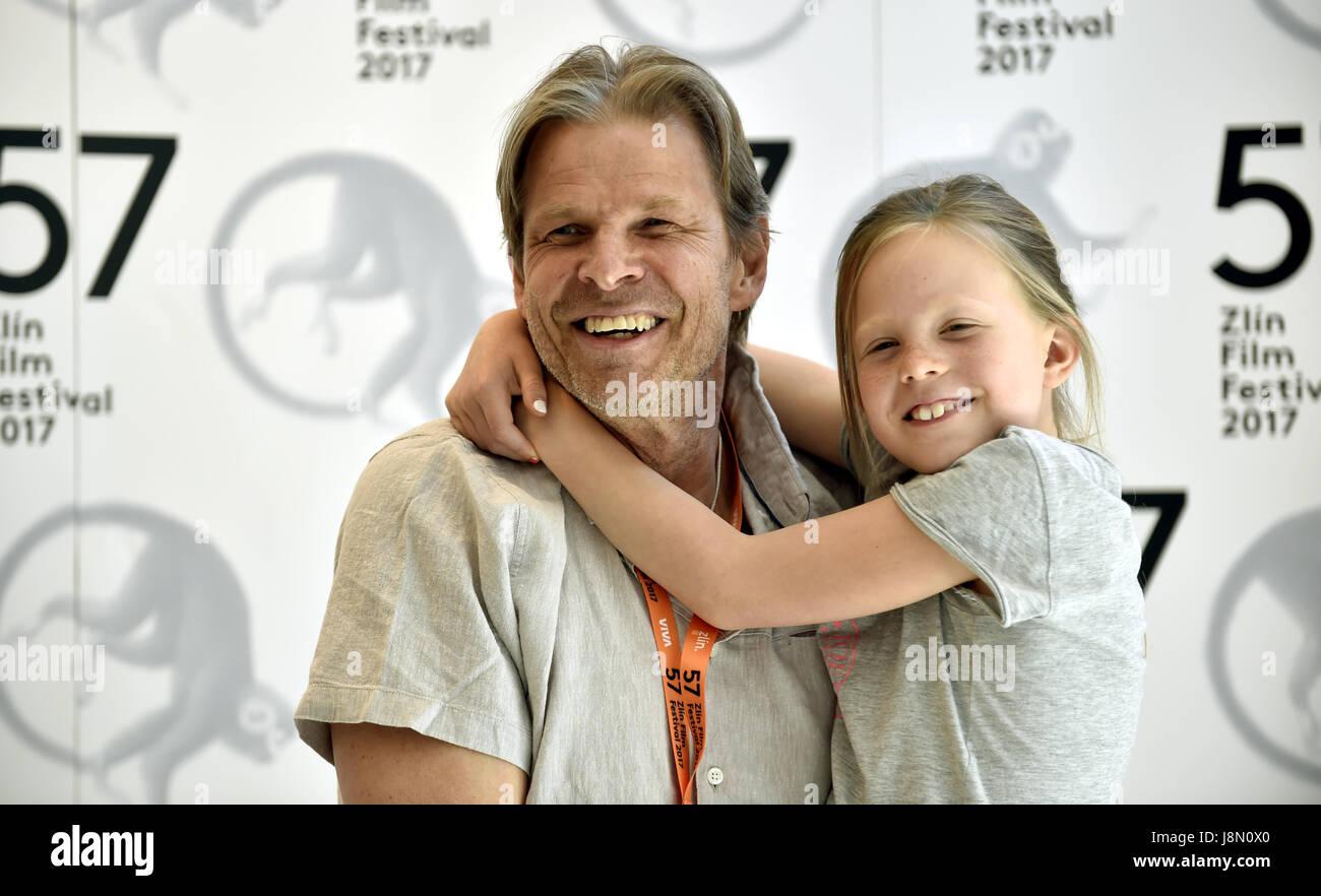 Swedish film maker Ingmar Bergman's son Daniel, accompanied by his daughter Judith, attends the 57th Zlin international - Stock Image