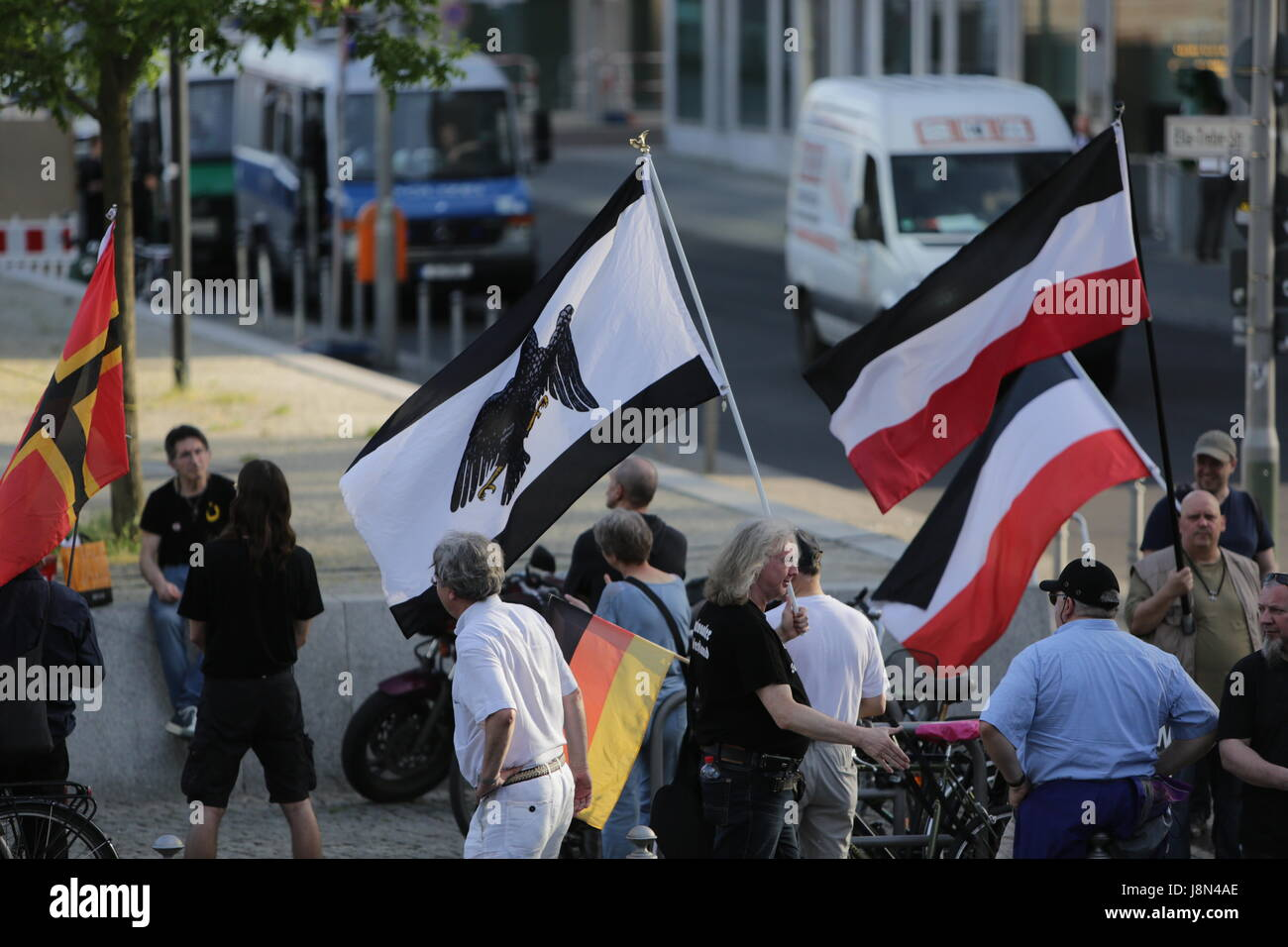 Protesters wave a Prussian flag and flags of the German Reich until 1918. A handful of right-wing protesters came - Stock Image