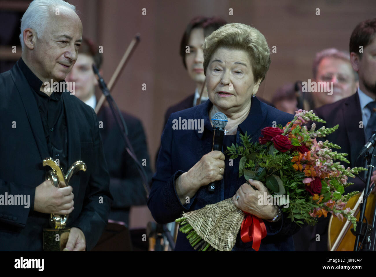 Moscow, Russia. 29th May, 2017. Naina Yeltsina (R), the widow of the first President of the Russian Federation, - Stock Image