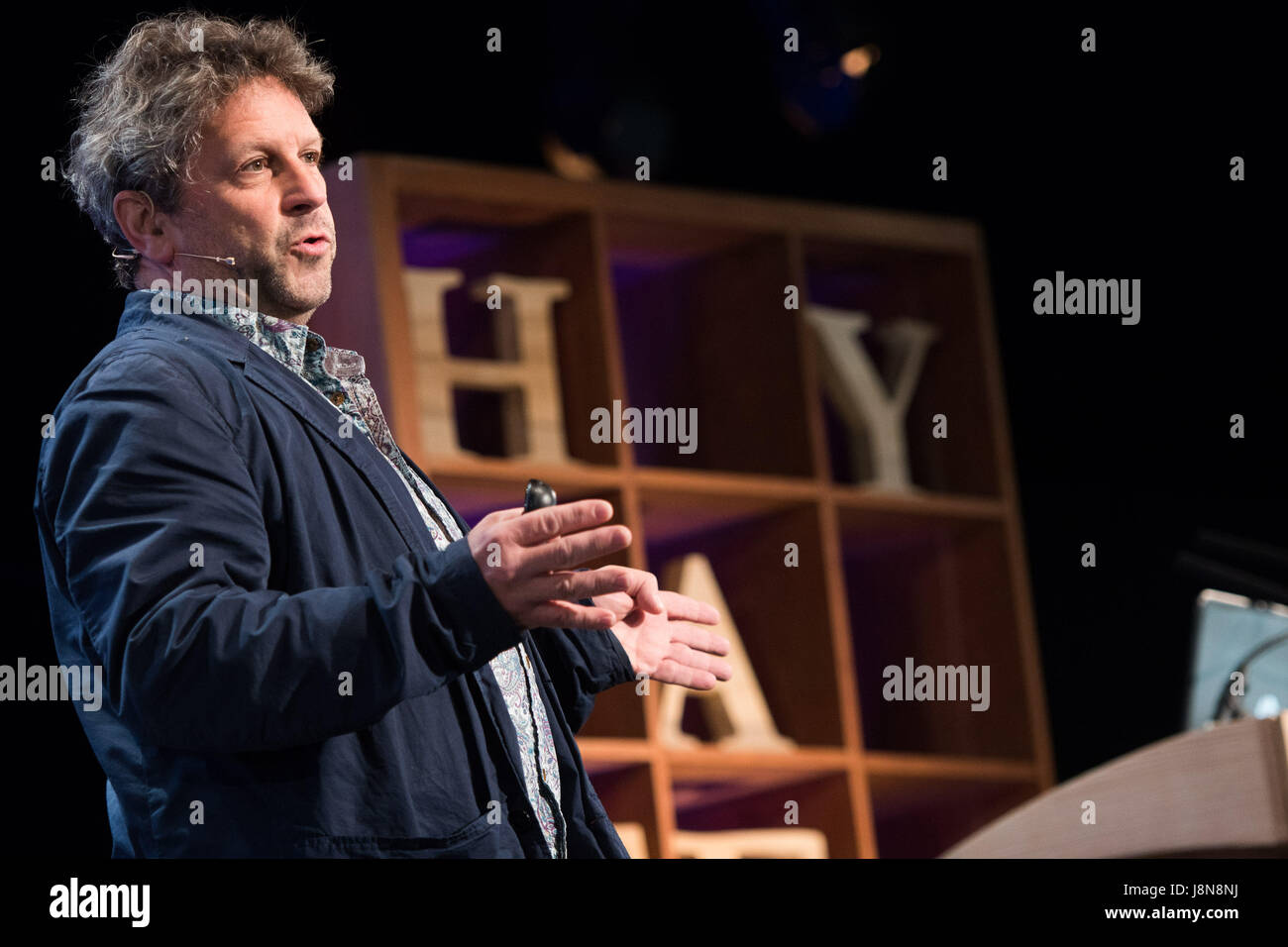Hay Festival, Wales UK, Tuesday 30 May 2017 Volcanologist DAVID M PYLE from Oxford University talking about 'Volcanoes: - Stock Image