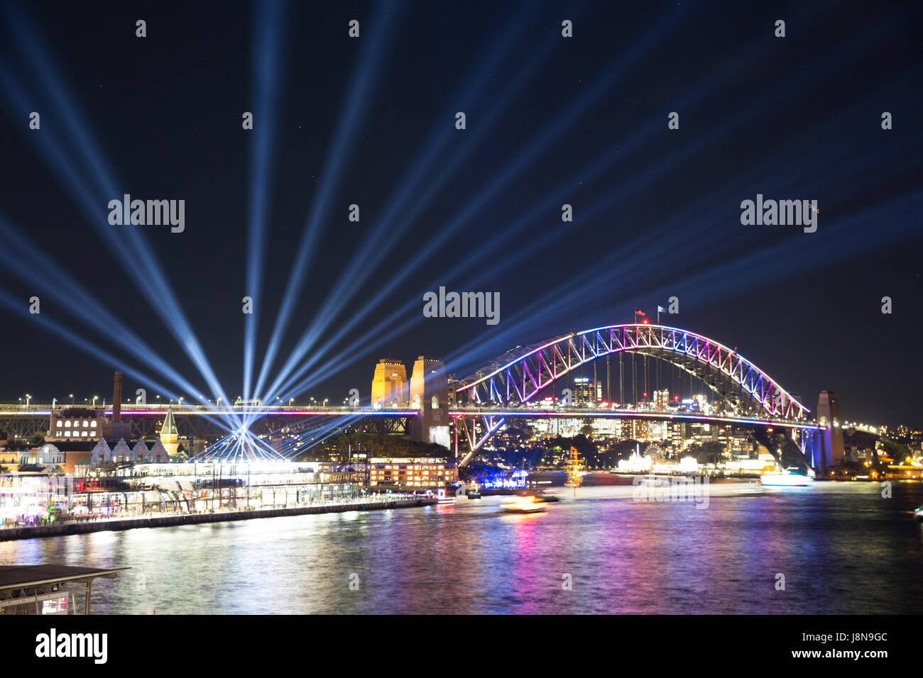 Sydney, Australia, Tuesday 30th May 2017.Sydney Harbour bridge and  Vivid Sydney light show at Circular Quay. Credit: - Stock Image
