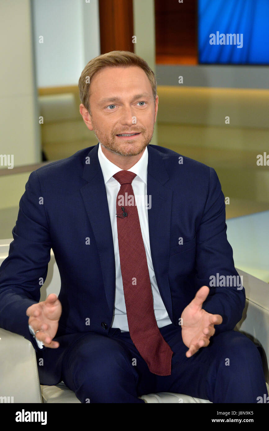 Berlin, Germany. 21st May, 2017. Christian Lindner, Chairman of the Free Democratic Party (FDP) during the ARD talk - Stock Image