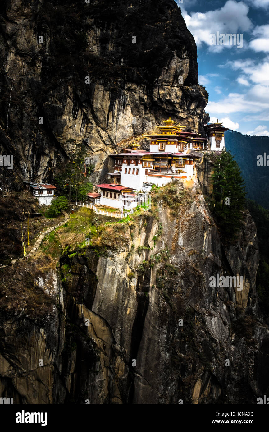 The beautiful Paro Taktsang, also known as Tiger Nest is a sacred monasteries and pilgrimage sites in the Himalaya - Stock Image